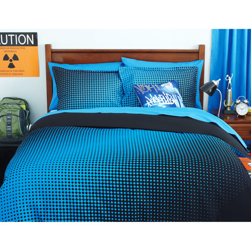your zone reversible comforter cover & sham set, half - tone / rich black