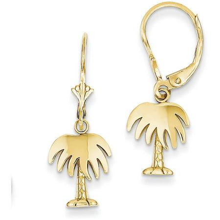 Primal Gold 14 Karat Yellow Gold Yellow Gold Palm Tree Leverback Earrings 14k Yellow Gold Palm Tree