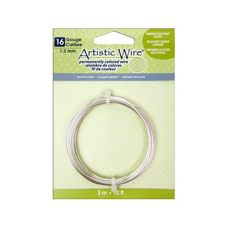 Artistic Wire 16 gauge Tarnish Resistant Silver, 10 feet Non Tarnish Silver Artistic Wire