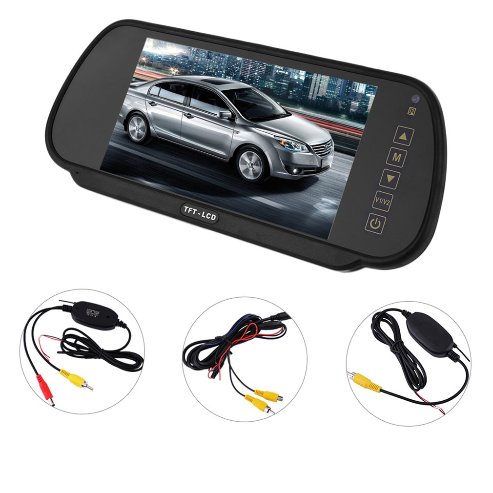 7inch LCD Screen Car Rear View Backup Monitor And Wireless Reverse IR Night Vision Camera Set Parking Assistance