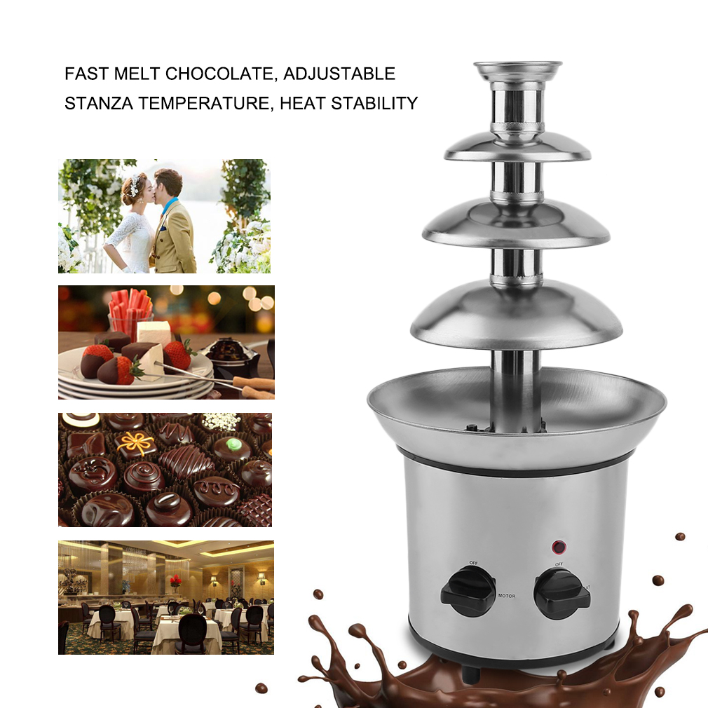 4 Tier Commercial Stainless Steel Chocolate Fondue Waterfall Fountain Machine by