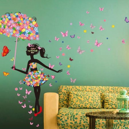 - Huppin's York's Street Colorful Cartoon Wall Stickers Serie Butterflies Flowers Fairy Mural Decals Living Room Kids' Children's Bedroom Decoration