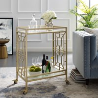 Reena White/ Gold Bar Cart Serving Tray - 2 Tempered-Glass Shelves | Casters/ 2 Locking | Storage