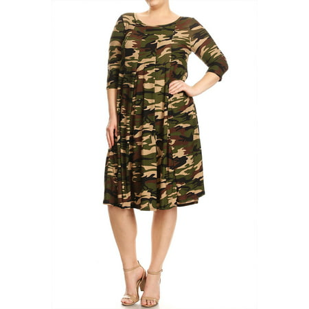 Moa Collection - Women\'s Plus Size Camouflage Pattern Dress ...