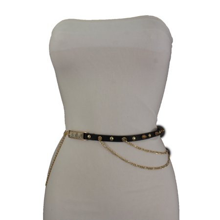- Trendy Women Faux Leather Black Fashion Belt Gold Metal Spikes Charms Chains S M