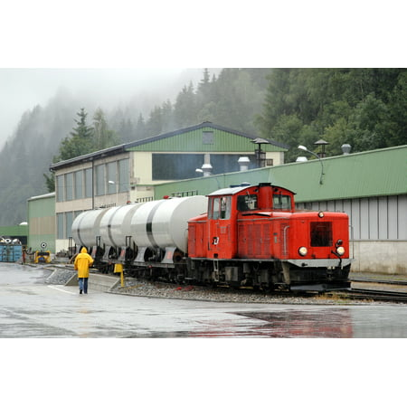 LAMINATED POSTER Narrow Gauge Diesel locomotive VL13 shunting tank wagons in Murau station Deutsch: Schmalspurdiesell Poster Print 24 x 36