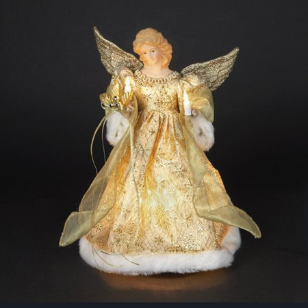 14 lighted angel in gold snowflake dress christmas tree topper figure. Black Bedroom Furniture Sets. Home Design Ideas