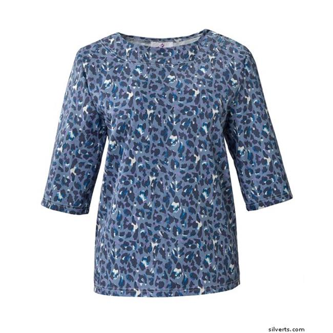 Silverts 236202502 Attractive Fashionable Handicapped Adaptive Top for Women, Blue Leopard - Medium - image 1 of 1