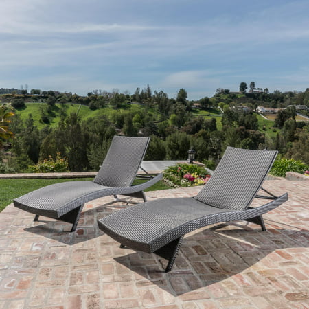 Noble House Outdoor Wicker Chaise Lounge Chairs, Set of 2 ...
