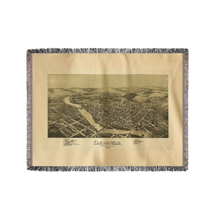 Clearfield  Pennsylvania   Panoramic Map  60X80 Woven Chenille Yarn Blanket