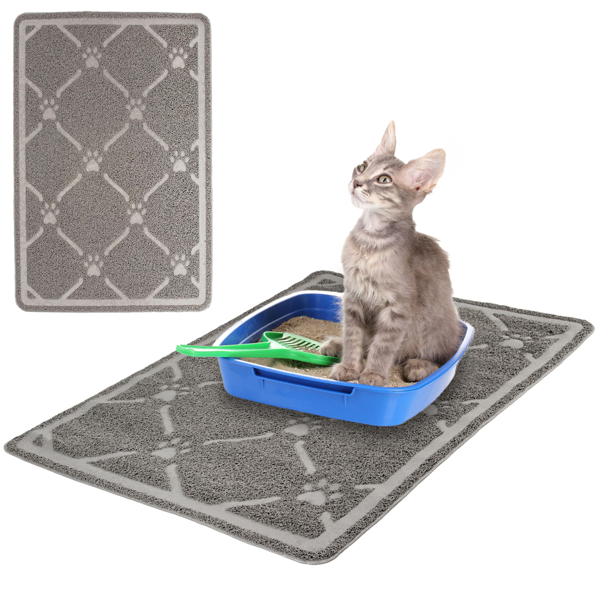 "Large 34"" Cat Litter Mat With Scatter Control Box Debris Catcher Mat Precision Pet Kitty"