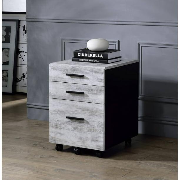 Jurgen File Cabinet In Antique White, Wood File Cabinet White