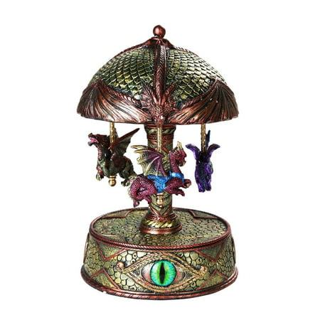 Ebros Mystical Fantasy Dragons Vintage Musical Rotating Carousel Collectible 8.5 Inch (Vintage Kitchen Collectibles)