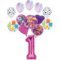Skye, Everest and Paw Patrol friends Birthday 13-Balloon Bouquet Decorations (Select Age)