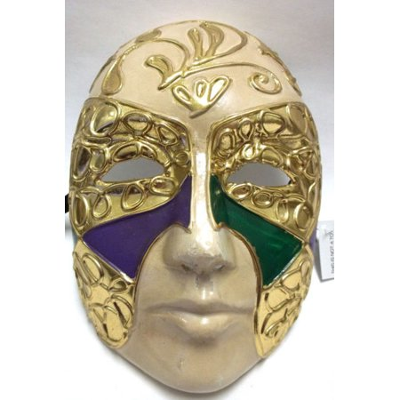 Purple Green Gold Full Face Paper Mache Mardi Gras Masquerade Mask Men Male - Mask Printables