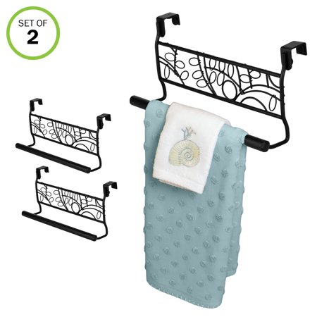 Over Cabinet Door Towel Bar-Bathroom-Kitchen-No Installation-Black-Set/2