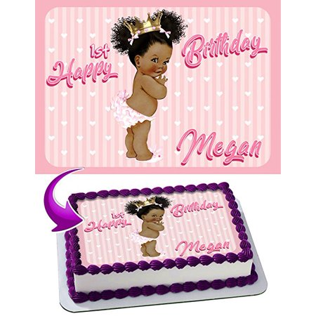 - Princess Baby Girl Edible African American Image Cake Topper Personalized Icing Sugar Paper A4 Sheet Edible Frosting Photo Cake 1/4 Edible Image for cake