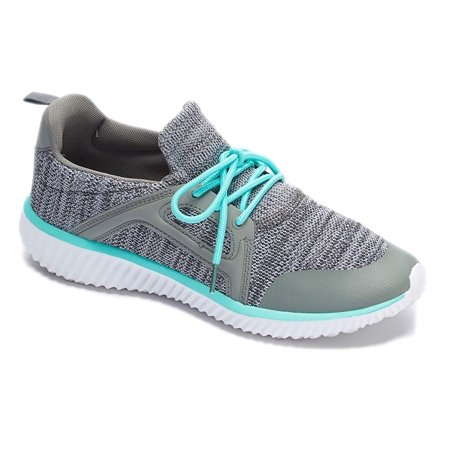 online store 77ec4 43763 Womens Sneakers Athletic Knit Mesh Running Shoes Light Weight Walking  Casual Comfort Running Shoe (9, Green and Grey - J3947b)