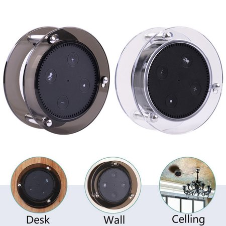 Acrylic Speaker Stand,Ceiling Wall Mount Protective Stand for Amazon Echo Dot (2nd Generation) Smart Home Décor Guard Station For Alexa 1PCS (Random Color:Black/Clear)