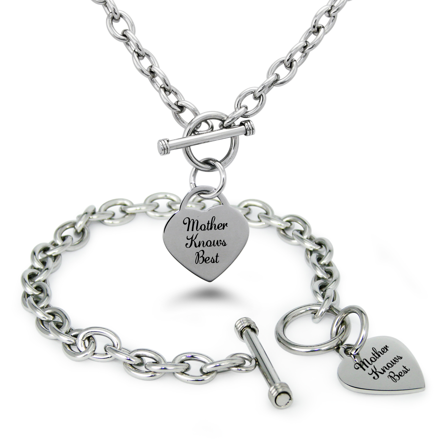 Stainless Steel Mother Knows Best Heart Charm Toggle Bracelet & Necklace