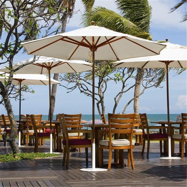 Galtech 9 ft. Teak Designer Umbrella - Crimson Dupione Sunbrella