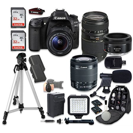 Canon EOS 80D Digital SLR Camera with EF-S 18-55mm f/3.5-5.6 is STM Lens, Tamron Auto Focus 70-300mm f/4.0-5.6 Zoom, EF 50mm f/1.8 STM Bundle and Accessories (15 Items)