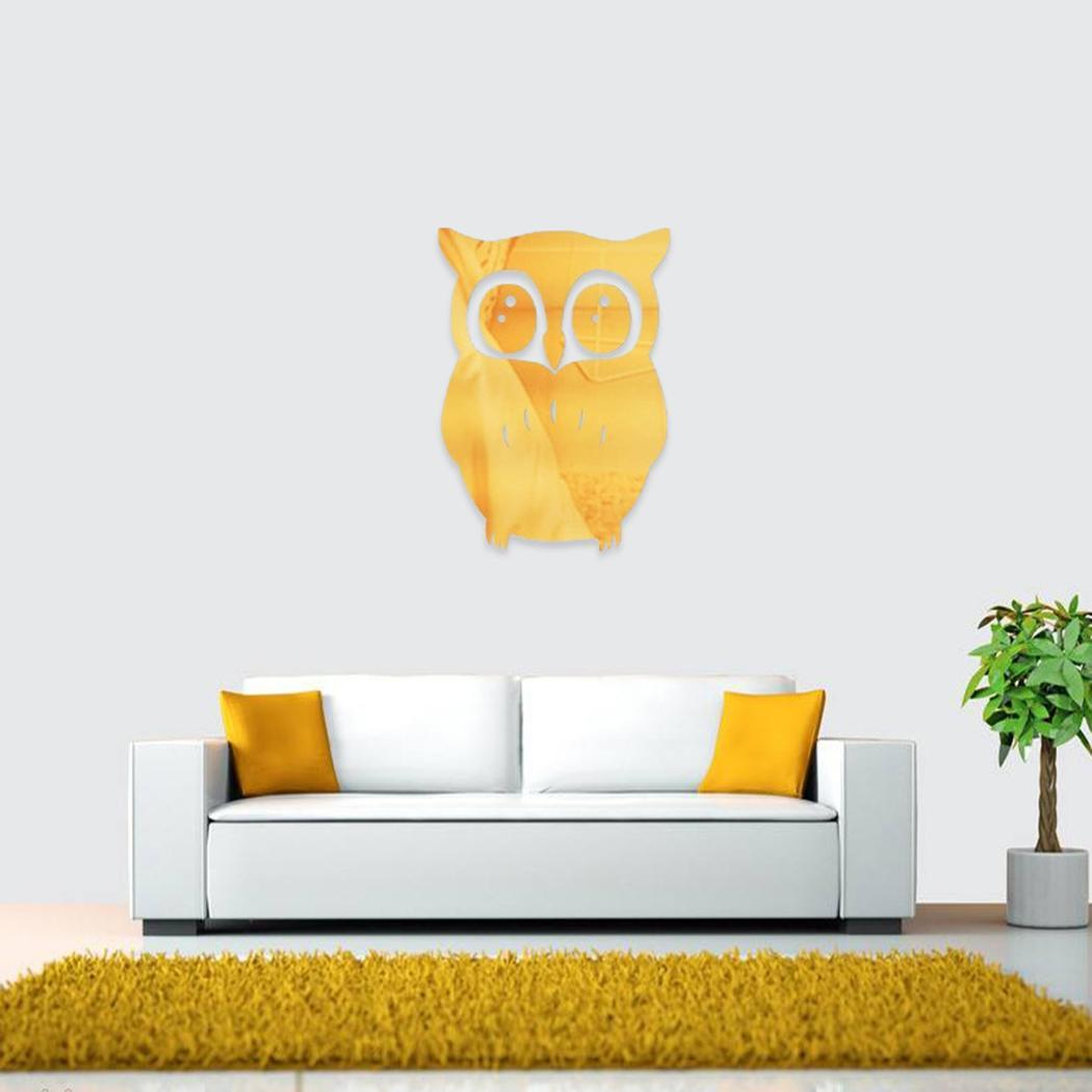 3D Mirror Owl Art Removable Wall Sticker Mural Decal Home Room Decor HFON