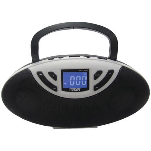 NAXA NAS3057BK Portable Speaker Boom Box with USB Inputs FM Radio & LCD Display (Black)