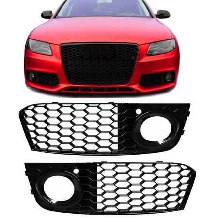 A Pair Honeycomb Mesh Fog Light Open Vent Grill RS4 Style For AUDI A4 B8 2009-2012