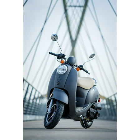 Coleman Powersports 49cc Gas Powered Scooter Moped - Gray - Walmart com