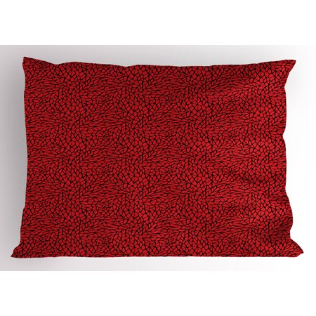 Red And Black Pillow Sham Abstract Pattern In Vibrant