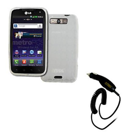 - EMPIRE LG Connect 4G MS840 Poly Skin Case Cover (Clear Diamond Pattern) + Car Charger [EMPIRE Packaging]