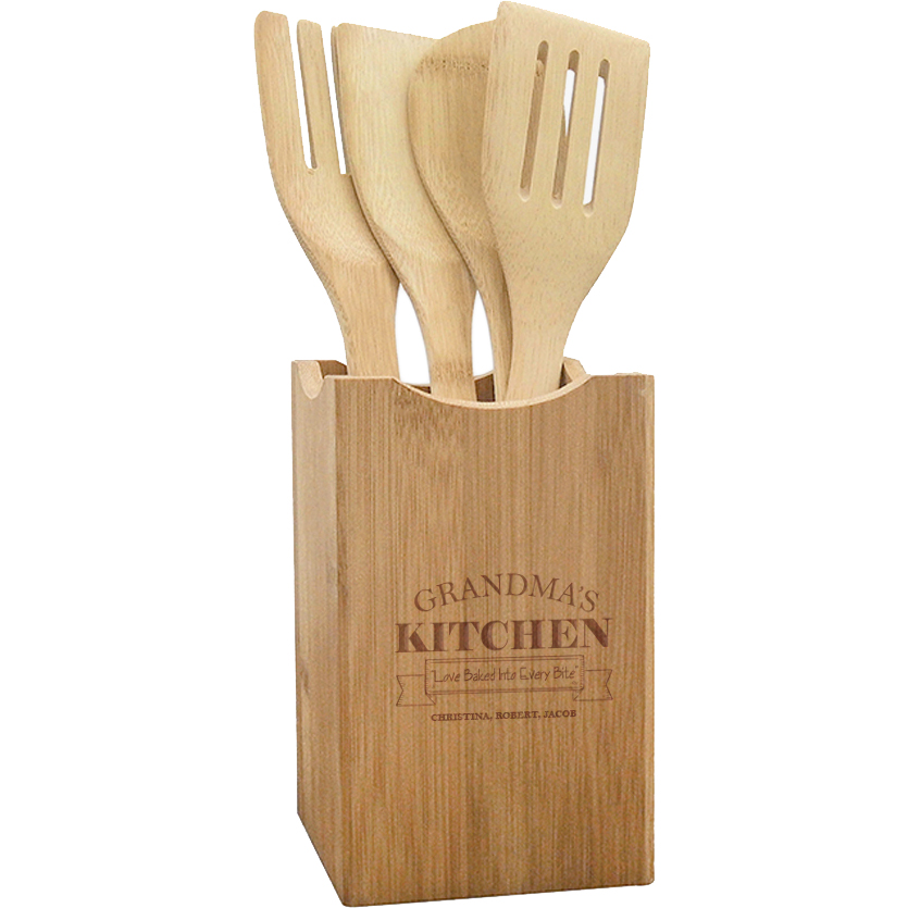 Grandma's Kitchen Custom Wooden Utensils And Holder Set