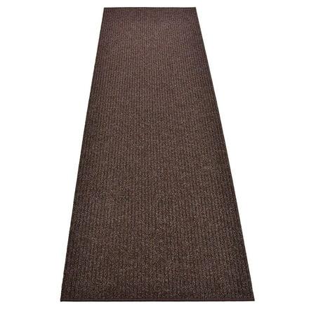 Image of Rug Runner Brown Color Custom Size Indoor Outdoor Slip Skid Resistant Cut to Size Utility Mat Runner Rug Hallway Entrance Runner Rugs Carpet