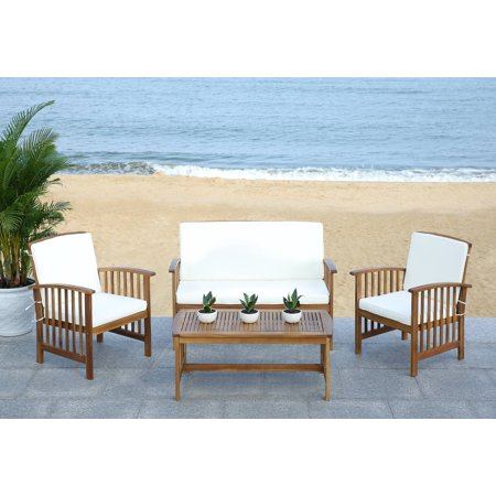 Safavieh Rocklin Outdoor Contemporary 4 Piece Living Set with Cushion ()