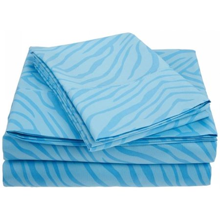 Impressions by Luxor Treasures MF1800KGSH APLB 1800 Series Wrinkle Resistant Animal Print King Sheet Set-Light Blue