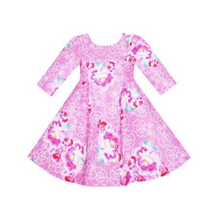 Girls Dress Pink Flower Print 3/4 Sleeve Autumn Winter 4 - Winter Dress Girls