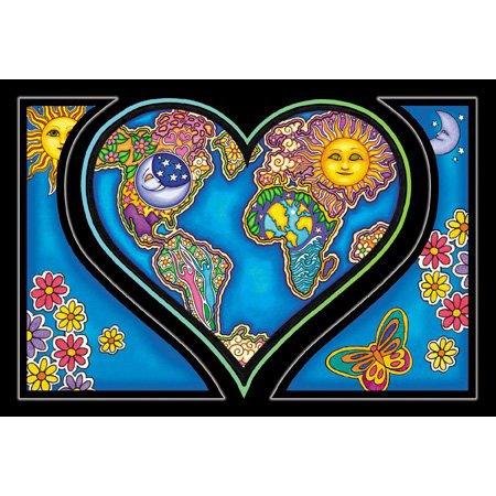 2 x Dan Morris - Heart And Earth Large Heart Postcards - 6