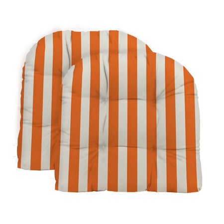 RSH Decor - Indoor / Outdoor 2- Piece Large Tufted Wicker Cushion Set Made with Orange & White Cabana Stripe Fabric Large Oval Cushion