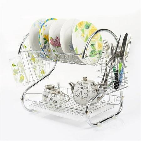 2 Tiers Kitchen Dish Cup Drying Rack Drainer Dryer Tray Cutlery Holder Organizer Vanderlife