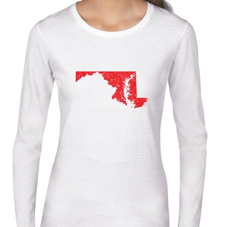 Maryland Red Republican   Election Silhouette Womens Long Sleeve T Shirt