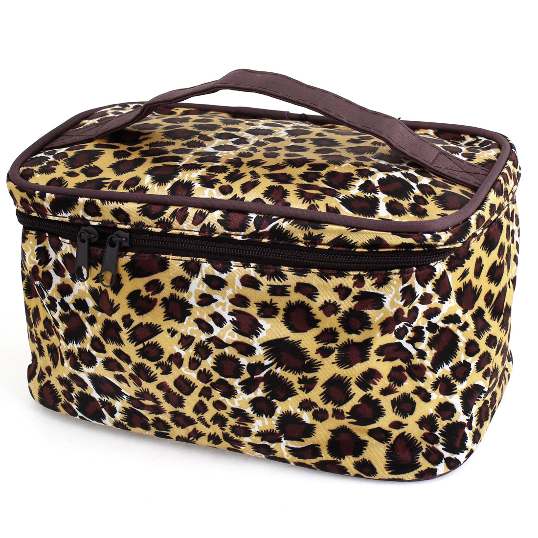 Ladies Zippered Leopard Prints Cosmetic Hand Bag Case Pouch Brown Beige