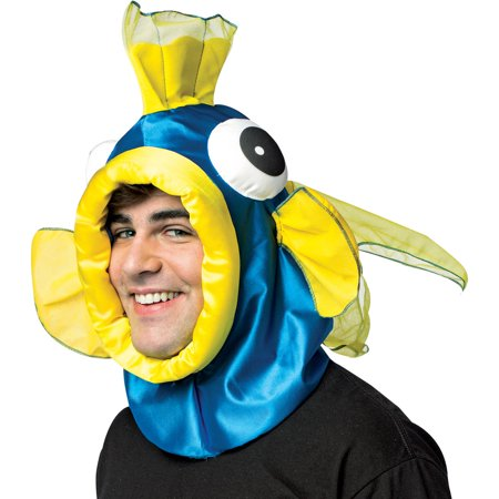Blue Fish Open Face Mask Adult Halloween Accessory - Halloween Painted Face Ideas