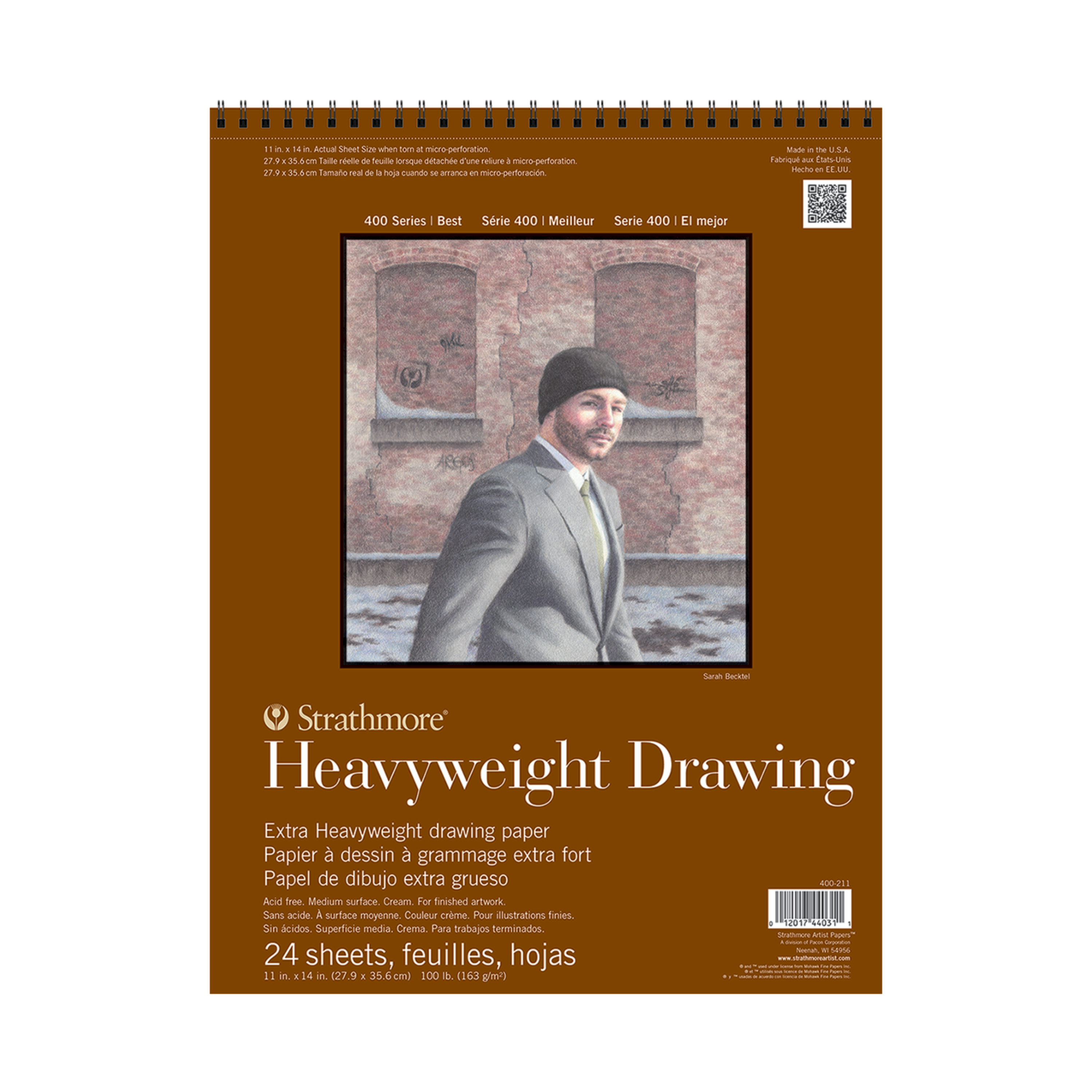 Strathmore Drawing Paper Pad, 400 Series, 24 Sheets, 11in x 14inin