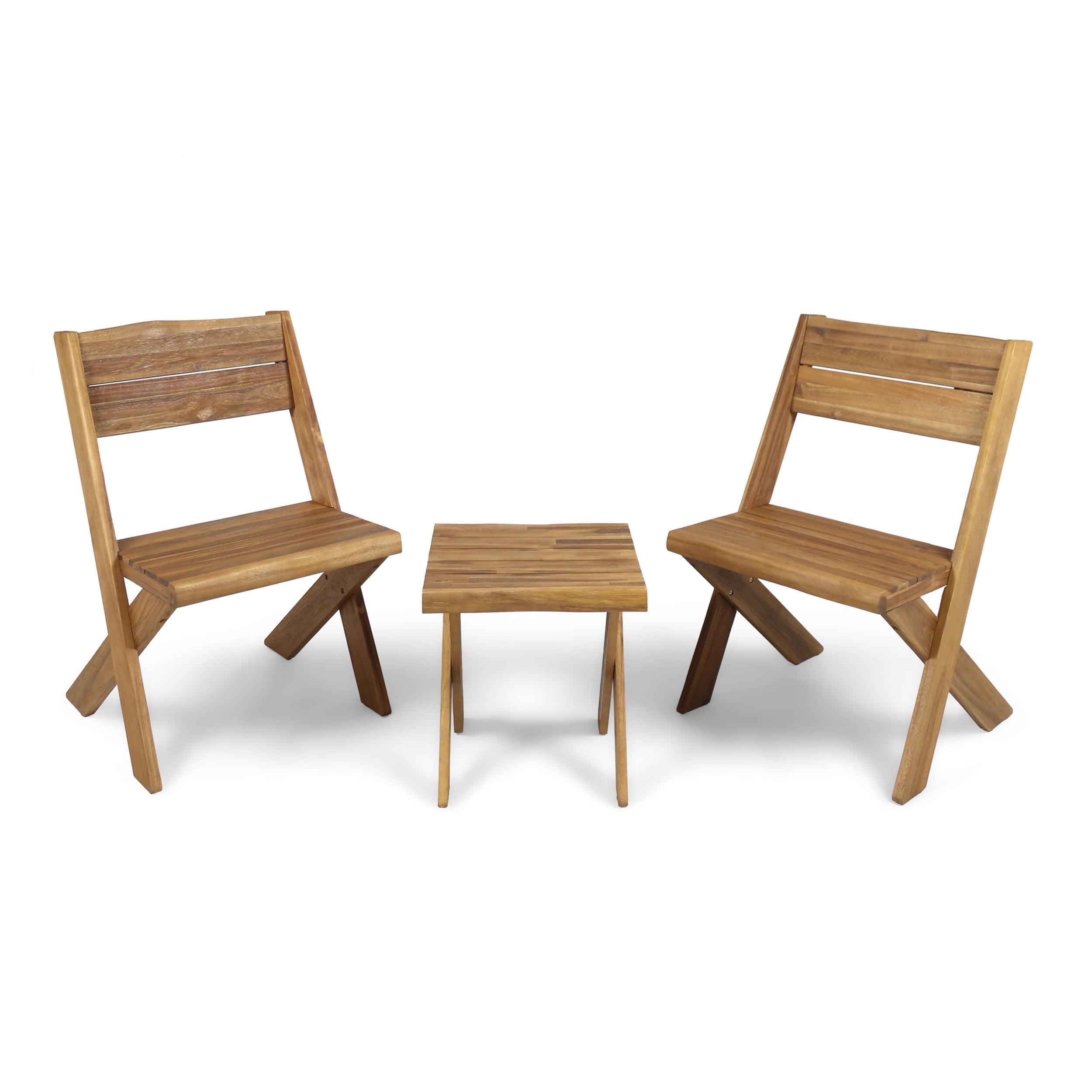 Outdoor Acacia Wood 2 Seater Chat Set, Teak