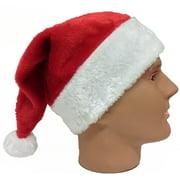 "Plush Red Santa Claus Hat w Furry White Trim - Adult Size (22.5"" cir)"