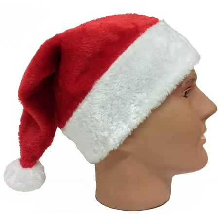 Plush Red Santa Claus Hat w Furry White Trim - Adult Size (22.5