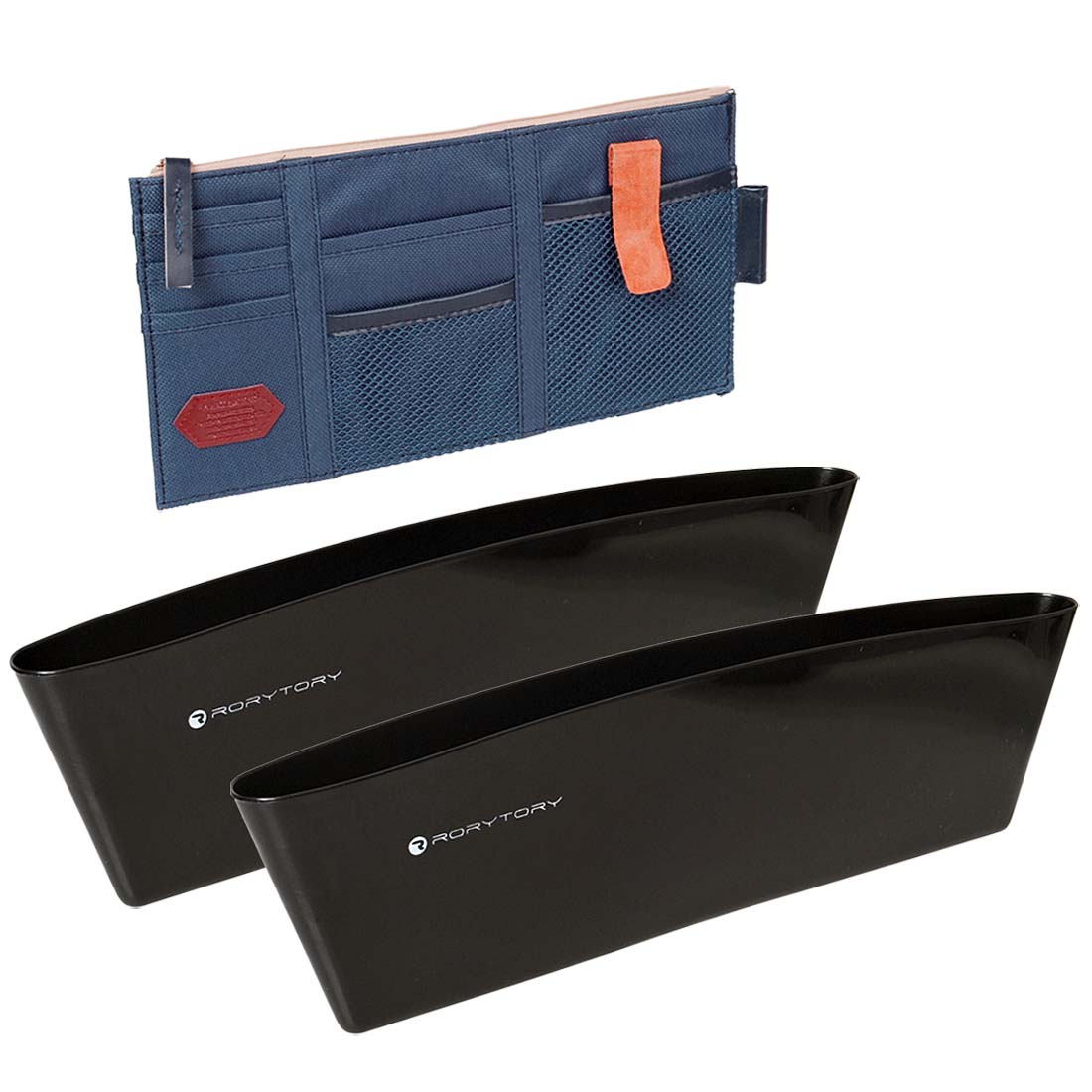 RoryTory Car Organizing Kit: (1) Visor Caddy + (2) Side Seat Pockets Organizers