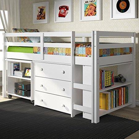 Donco Kids Low Loft With Desk, Chest & Bookcase-Color:White,Size:Twin