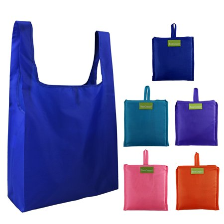 Reusable Bags Set of 5,Tote Foldable into Attached Pouch, Ripstop Polyester Reusable Shopping Bags, Washable, Durable and Lightweight Made of 210T RIPSTOP POLYESTER, this fabric is capable of making the best reusable grocery bags on the market. Most of others are Flimsy 190T POLYESTER. All seams are DOUBLE STITCHED which makes it hold heavy loads safely.Perfect size bags for your next shopping trip. Big enough to carry everything you need, but small enough to remain easy to carry.Each BeeGreen reusable grocery totes come with an attached pouch, allowing you to fold this bag up into a small portable pouch that can be easily stored in your car, purse, or wherever is most convenient.Wash by machine, recommended mild detergent and hang to dry.BeeGreen bags come in a great array of eco-chic colors, so they can be the perfect accessories to living a green lifestyle.Available in 5 Different Colors Royal,Pink,Purple,Orange,Teal. Save Money on Multiple Piece Orders with Our PACKS!When shopping at the grocery store, a retail store, or the mall, you can help reduce your impact on the environment by using eco friendly, reusable shopping tote bags from BeeGreen Bags.Switching to reusable shopping and grocery bags from BeeGreen Bags is a great way to cut down on wasteful one-time-use paper and plastic bags. Reusable bags help the environment by reducing the amount of trash. In addition, using BeeGreen Bags reduces waste because they are long lasting and promote reuse. Reusable shopping tote bags make great gifts for birthdays, graduation, housewarming parties, and special holidays because they help to spread message that reusability is an important part of reducing environmental impact.While out shopping or traveling, help the environment and yourself at the same time by picking up BeeGreen convenient,fashionable,foldable,eco friendly shopping bags!Rest assured, you're covered by our 100% Money Back No-Rip Guarantee, no questions asked. Click Add to Cart now to reduce your carbon